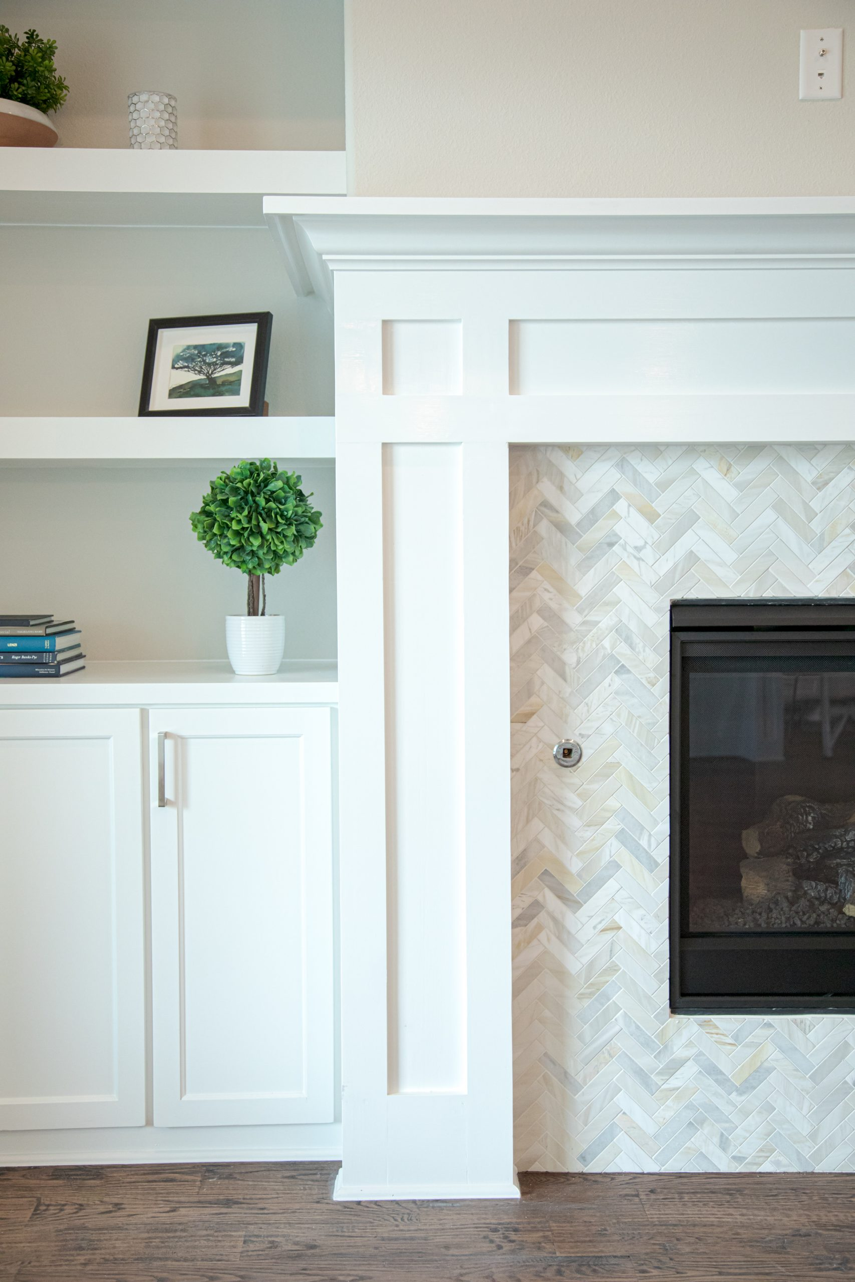 Fireplace Tile Built In Shelves
