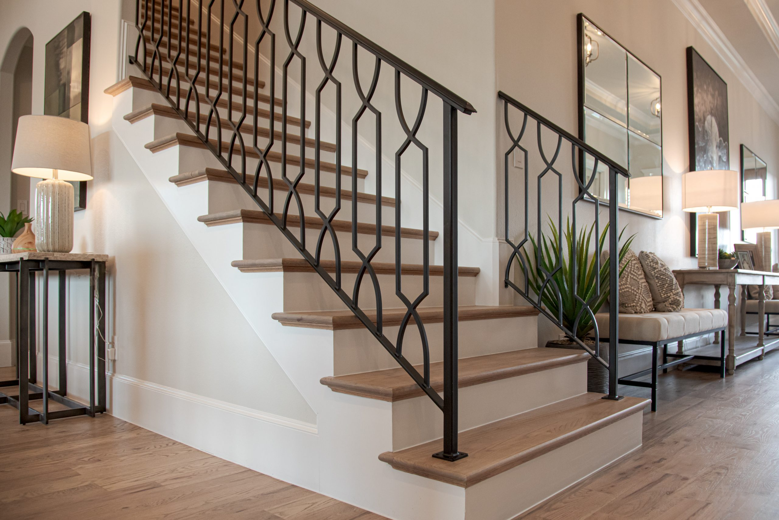 Wooden Stairs with Iron Railing
